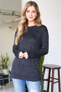S12-2-2-RFT2617-2THC-CHL - TWO TONED ROUND NECK SWEATSHIRT- CHARCOAL 1-2-2-2