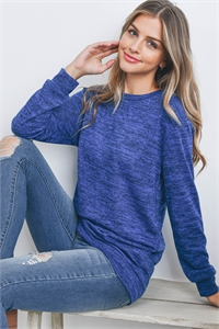S8-1-2-RFT2617-2THC-DPBL-1 - TWO TONED ROUND NECK SWEATSHIRT- DEEP BLUE 1-0-2-1