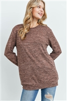 S13-1-3-RFT2617-2THC-MC - TWO TONED ROUND NECK SWEATSHIRT- MOCHA 1-2-2-2