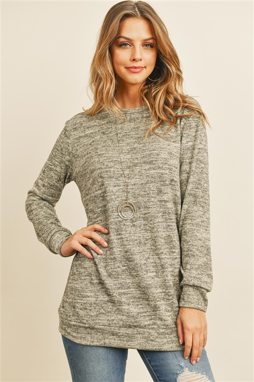 S15-11-5-RFT2617-2THC-OTM-1 - TWO TONED ROUND NECK SWEATSHIRT- OATMEAL 0-2-2-0