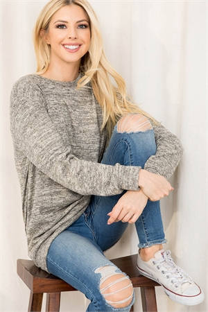 S12-2-2-RFT2617-2THC-OTM - TWO TONED ROUND NECK SWEATSHIRT- OATMEAL 1-2-2-2