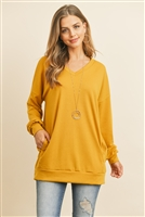 S12-4-2-RFT2618-FRT-DJ - OVERSIZED FRENCH TERRY V-NECK SWEATER WITH INSEAM POCKET- DIJON 1-2-2-2