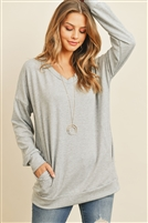S12-6-2-RFT2618-FRT-HG - OVERSIZED FRENCH TERRY V-NECK SWEATER WITH INSEAM POCKET- HEATHER GREY 1-2-2-2