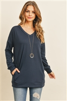 S12-1-3-RFT2618-FRT-NV - OVERSIZED FRENCH TERRY V-NECK SWEATER WITH INSEAM POCKET- NAVY 1-2-2-2