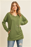 S12-4-2-RFT2618-FRT-OV - OVERSIZED FRENCH TERRY V-NECK SWEATER WITH INSEAM POCKET- OLIVE 1-2-2-2