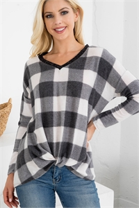 S11-7-3-RFT2619-RPL015C-BKIV - BRUSHED V-NECK PLAID LONG SLEEVE KNOT TOP- BLACK/IVORY 1-2-2-2