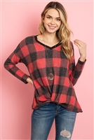 S11-7-3-RFT2619-RPL015C-BKRD - BRUSHED V-NECK PLAID LONG SLEEVE KNOT TOP- BLACK/RED 1-2-2-2
