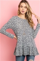 S10-8-3-RFT2624-RAP098-DGYOTM - LONG SLEEVED RUFFLE DETAIL HEM LEOPARD TUNIC- DARK GREY/OATMEAL 1-2-2-2
