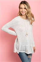 S10-8-3-RFT2624-RAP098-OFWPGY - LONG SLEEVED RUFFLE DETAIL HEM LEOPARD TUNIC- OFF-WHITE/PALE GREY 1-2-2-2