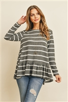 S11-7-1-RFT2624-RS017-CHWT - STRIPE LONG SLEEVE RUFFLE DETAIL HEM TUNIC- CHARCOAL/WHITE 1-2-2-2