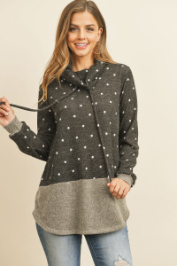 S12-1-2-RFT2638-RPD026-CHLOTM - SELF TIE POLKA DOT KNIT BOTTOM CONTRAST HOODIE- CHARCOAL/OATMEAL 1-2-2-2