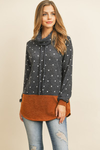 S12-1-2-RFT2638-RPD026-NVCML - SELF TIE POLKA DOT KNIT BOTTOM CONTRAST HOODIE- NAVY/CAMEL 1-2-2-2
