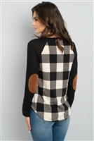 S4-2-2-RFT2656-RPL019C-BKIV - ELBOW PATCHED RIB DETAIL SLEEVE PLAID TOP- BLACK/IVORY 1-2-2-2