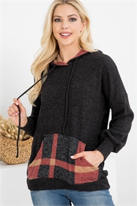 S12-6-3-RFT2658-RPL014C-CHTPBK - BRUSHED RIB PLAID SELF TIE KANGAROO POCKET HOODIE- CHARCOAL 2TONE/TAUPE BLACK 1-2-2-2