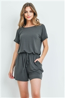 S13-1-3-RP-2171-AGY - ROMPER WITH ELASTIC WAIST & BACK KEYHOLE OPENING- ASH GREY 1-1-2-2
