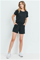 S14-11-1-RP-2171-BK - ROMPER WITH ELASTIC WAIST & BACK KEYHOLE OPENING- BLACK 1-1-2-2