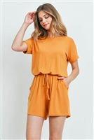 S14-11-5-RP-2171-GLDMU - ROMPER WITH ELASTIC WAIST & BACK KEYHOLE OPENING- GOLD MUSTARD 1-1-2-2