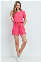 S13-1-3-RP-2171-HTP - ROMPER WITH ELASTIC WAIST & BACK KEYHOLE OPENING- HOT PINK 1-1-2-2