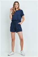 S14-10-5-RP-2171-NV - ROMPER WITH ELASTIC WAIST & BACK KEYHOLE OPENING- NAVY 1-1-2-2
