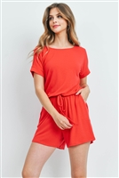 S14-10-5-RP-2171-RB - ROMPER WITH ELASTIC WAIST & BACK KEYHOLE OPENING- RUBY 1-1-2-2