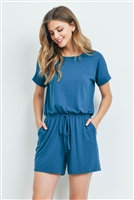 S14-11-5-RP-2171-TL - ROMPER WITH ELASTIC WAIST & BACK KEYHOLE OPENING- TEAL 1-1-2-2