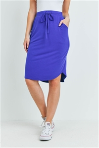 S15-11-1-RS-1870-BRTBL - SELF TIE TULIP HEM SKIRT WITH SIDE POCKETS- BRIGHT BLUE 1-1-2-2