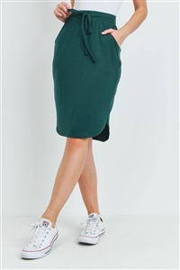 S15-12-1-RS-1870-HTGN - SELF TIE TULIP HEM SKIRT WITH SIDE POCKETS- HUNTER GREEN 1-1-2-2