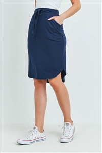 S15-9-3-RS-1870-NV - SELF TIE TULIP HEM SKIRT WITH SIDE POCKETS- NAVY 1-1-2-2