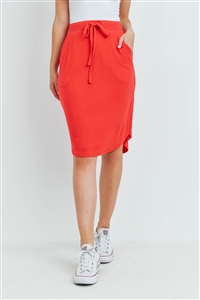 S15-11-2-RS-1870-RB - SELF TIE TULIP HEM SKIRT WITH SIDE POCKETS- RUBY 1-1-2-2