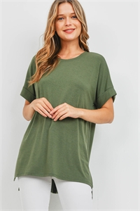 S16-3-5-RT-1628-AOV - ROLLED SLEEVE SIDE SLIT TOP- ASH OLIVE 1-1-2-2