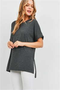 S9-20-3-RT-1628-CHL - ROLLED SLEEVE SIDE SLIT TOP- CHARCOAL 1-1-2-2