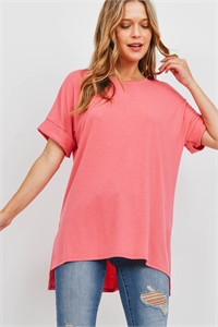 S16-6-5-RT-1628-DSRTRS - ROLLED SLEEVE SIDE SLIT TOP- DESERT ROSE 1-1-2-2