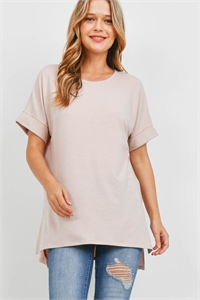 S16-3-5-RT-1628-DSTBLS - ROLLED SLEEVE SIDE SLIT TOP- DUSTY BLUSH 1-1-2-2