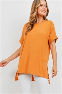 S9-20-3-RT-1628-GDMU - ROLLED SLEEVE SIDE SLIT TOP- GOLDEN MUSTARD 1-1-2-2