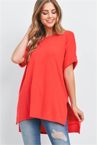S16-2-4-RT-1628-RB - ROLLED SLEEVE SIDE SLIT TOP- RUBY 1-1-2-2