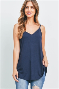 S6-1-3-RT-1675-NV - FRONT AND BACK REVERSIBLE SPAGHETTI CAMI- NAVY 1-1-2-2