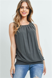 S4-2-4-RT-2011P-AGY - ROUND NECK PLEATED TOP WITH WAISTBAND- ASH GREY 1-2-2-1
