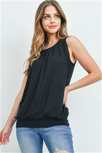 S4-2-4-RT-2011P-BK - ROUND NECK PLEATED TOP WITH WAISTBAND- BLACK 1-2-2-1