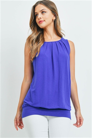 S6-3-3-RT-2011P-BRTBL - ROUND NECK PLEATED TOP WITH WAISTBAND- BRIGHT BLUE 1-2-2-1