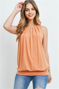 S8-3-2-RT-2011P-BTORG - ROUND NECK PLEATED TOP WITH WAISTBAND- BUTTER ORANGE 1-2-2-1