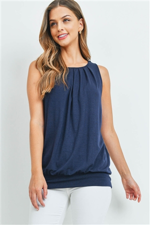 S8-3-2-RT-2011P-NV - ROUND NECK PLEATED TOP WITH WAISTBAND- NAVY 1-2-2-1