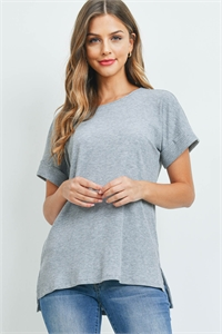 S9-18-1-RT-8031-HG - RIBBED ROUND NECK SIDE SLIT TOP- HEATHER GREY 1-1-2-2