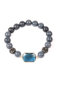 SA3-1-3-ASB7111BL BLUE GEM CUT STONE WITH SHAMBALLA AND NATURAL STONE BEADS BRACELET/6PCS