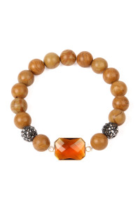 SA3-1-3-ASB7111BR BROWN GEM CUT STONE WITH SHAMBALLA AND NATURAL STONE BEADS BRACELET/6PCS