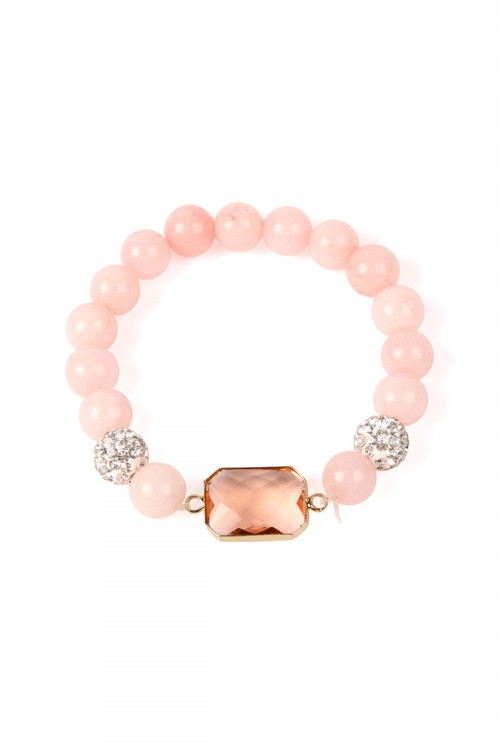 SA3-1-3-ASB7111CH CHAMPAGNE GEM CUT STONE WITH SHAMBALLA AND NATURAL STONE BEADS BRACELET/6PCS