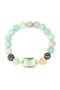 SA3-1-3-ASB7111GR GREEN GEM CUT STONE WITH SHAMBALLA AND NATURAL STONE BEADS BRACELET/6PCS