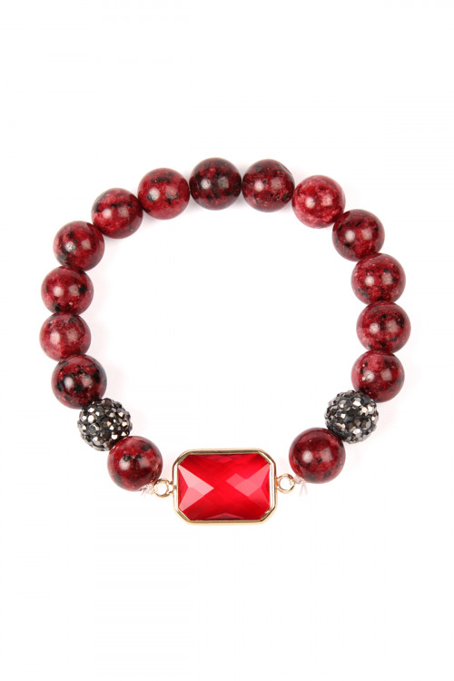 SA3-1-3-ASB7111RD RED GEM CUT STONE WITH SHAMBALLA AND NATURAL STONE BEADS BRACELET/6PCS