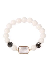 SA3-1-3-ASB7111WT WHITE GEM CUT STONE WITH SHAMBALLA AND NATURAL STONE BEADS BRACELET/6PCS