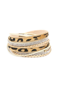 SA4-1-2-ASB7112NT NATURAL FAUX ANIMAL SKIN LEATHER WITH RHINESTONE AND BRAIDED LEAHTER MAGNETIC LOCK WRAP BRACELET/6PCS