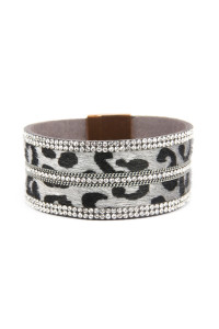 SA4-3-2-ASB7114GY GRAY FAUX LEATHER ANIMAL SKIN EMBELLISHED WITH RHINESTONE AND CHAIN MAGNETIC LOCK BRACELET/6PCS